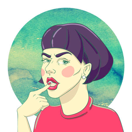 disbelief: Portrait of suspicious young girl with haircut bob and an earring in the ear on the watercolor background Illustration