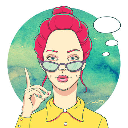 Portrait of young redheaded girl in glasses and lifted up his index finger. The speech bubble.