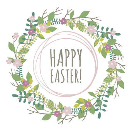 an inflorescence: Easter greeting card with wreath from floral elements on white background Illustration