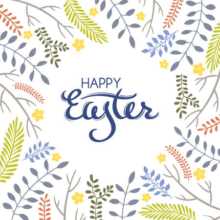 an inflorescence: Easter greeting card with frame from floral elements on white background