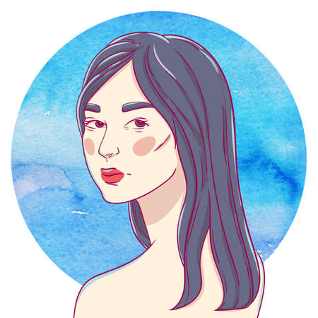 dark hair: Portrait of turning young asian girl with long dark hair on the background of the watercolor circle Illustration