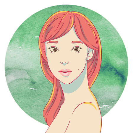 long hair brunette: Portrait of cute young asian girl with red hair on the background of the watercolor circle Illustration
