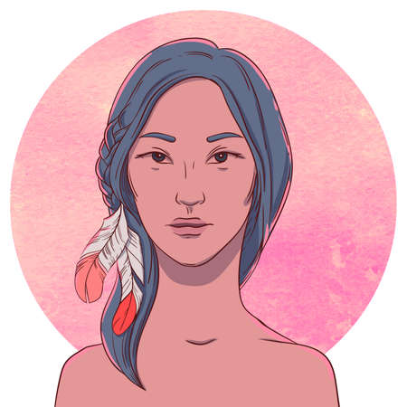 cute girl with long hair: Portrait of serious young native girl with long dark hair and feather on the background of the watercolor circle Illustration