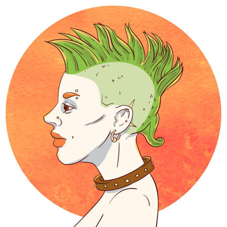 mohawk: Portrait of a young girl with mohawk hairstyle and piercings on the background of the watercolor circle Illustration