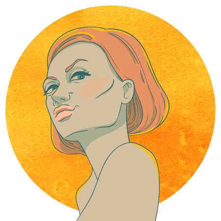 arrogant: Portrait of arrogant young girl with red hair  on the background of the watercolor circle Illustration