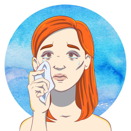crybaby: Portrait of a crying young girl with ginger hair and  handkerchief  on the background of the watercolor circle