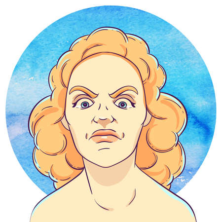 outrage: Portrait of angry young girl with red curly hair on the background of the watercolor circle