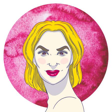 desprecio: Retrato de muchacha joven arrogante con el pelo rubio en el fondo de la acuarela del c�rculo