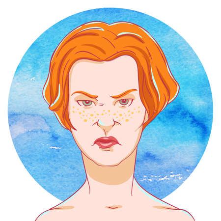 disbelief: Portrait of suspicious young girl red hair on on the watercolor background