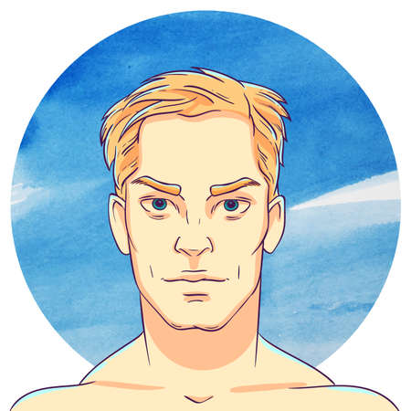 serious: Young man-blond with short hair on a background of watercolor circles. The illustration in comics style.