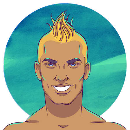 topknot: Smiling young tanned guy with a mohawk hairstyle on the background of the watercolor circle