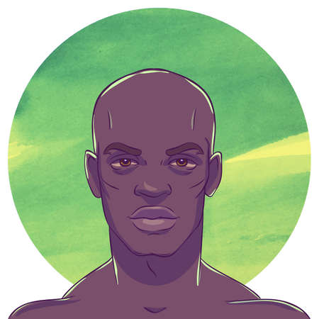 male face: Young serious bald African American man in the background with watercolor circle