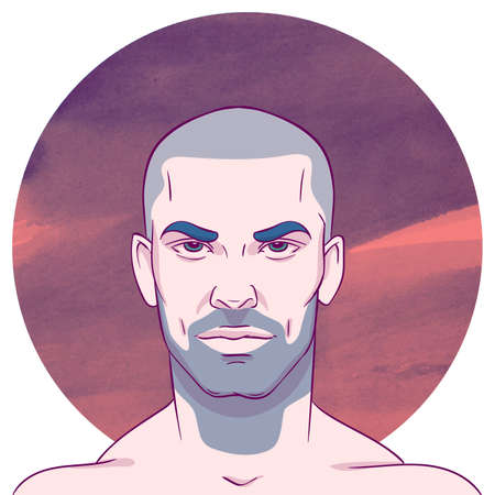 unshaven: Young bald unshaven man with a mustache and beard on the background of the watercolor circle