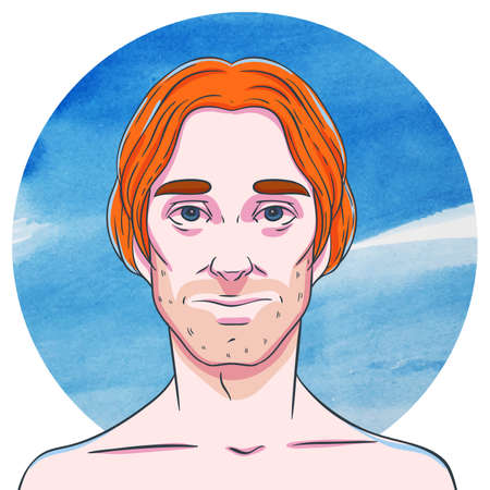stubble: Man with long ginger hair on a background of watercolor circles. The illustration in comics style. Illustration