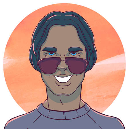 dark hair: Smiling man with long dark hair and sunglasses on a background of watercolor circles. The illustration in comics style. Layer with a t-shirt can be disabled