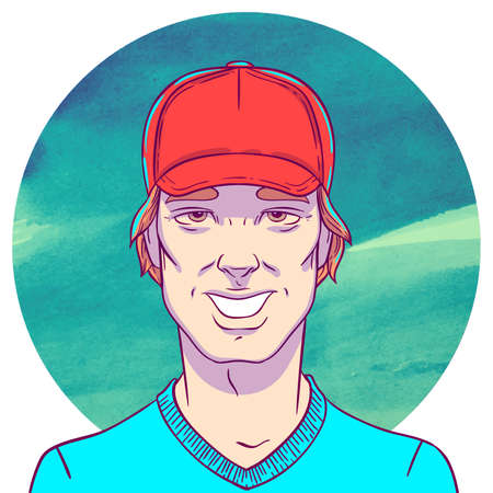 layer style: Smiling man with red cap on a background of watercolor circles. The illustration in comics style. Layer with a t-shirt can be disabled