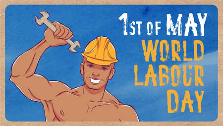 overalls: International labor day. The first of may. Illustration of a young man in overalls with a wrench.