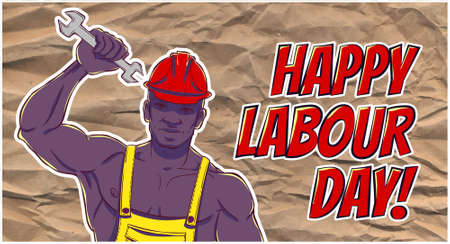 casque: International labor day. The first of may. Illustration of a African american man in overalls with a wrench.