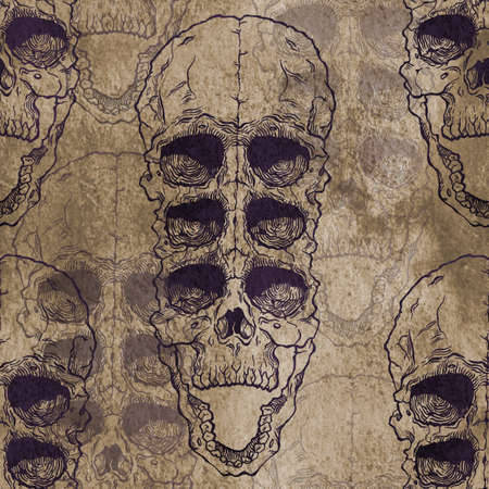 terrible: Terrible frightening seamless pattern with skull on antique grunge background. Halloween illustration