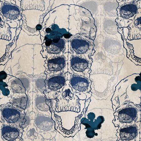 cranial: Terrible frightening seamless pattern with skull on antique grunge background. Halloween illustration