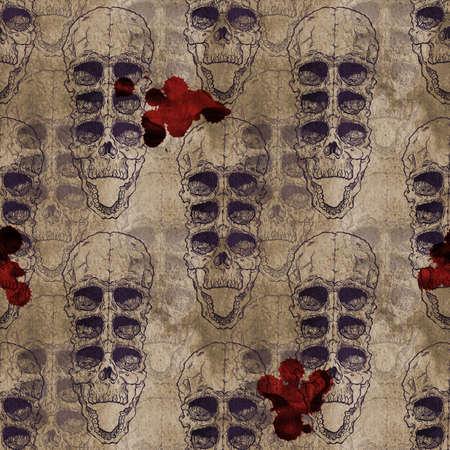 samhain: Terrible frightening seamless pattern with skull on antique grunge background. Halloween illustration