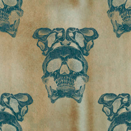 terrible: Terrible frightening seamless pattern with skull and crown of pelvic bones on a antique grunge background Stock Photo