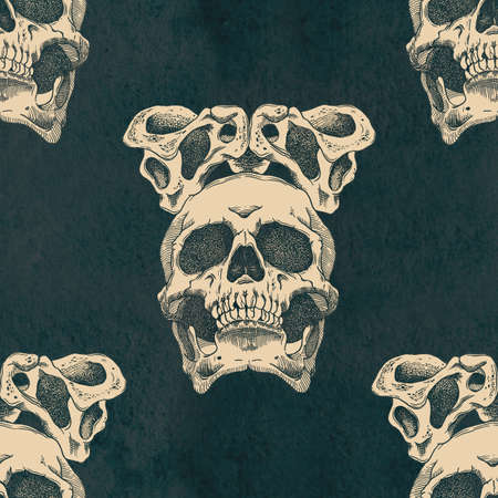 Terrible frightening seamless pattern with skull and crown of pelvic bones on a antique grunge background Stock Photo