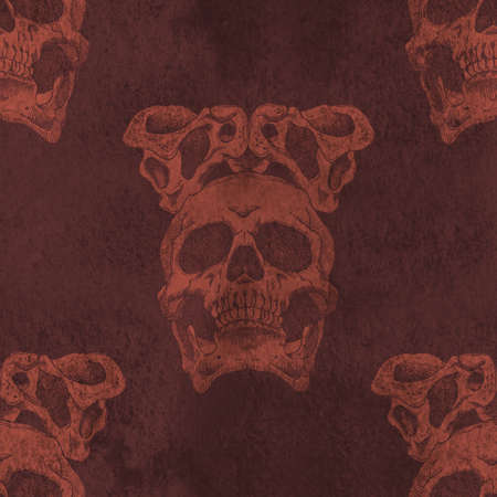 cranial: Terrible frightening seamless pattern with skull and crown of pelvic bones on a antique grunge background Stock Photo