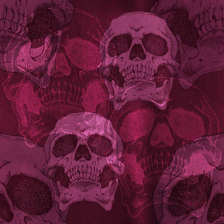 terrible: Terrible frightening seamless pattern with skull on a antique grunge background