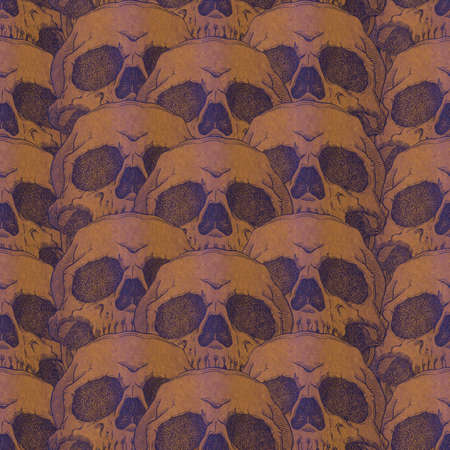 samhain: Terrible frightening seamless pattern with skull on a antique grunge background