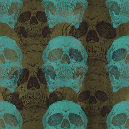 cranial: Terrible frightening seamless pattern with skull on a antique grunge background