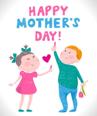 Greeting card mothers day in the style of childrens drawings greeting card mothers day in the style of childrens drawings boy and girl draw with m4hsunfo