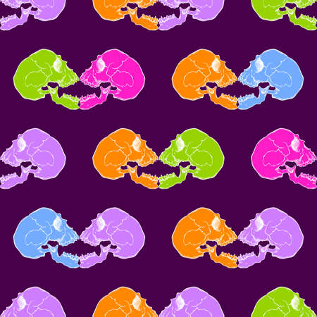 cranial: Terrible frightening seamless pattern with skull in cartoon style Illustration