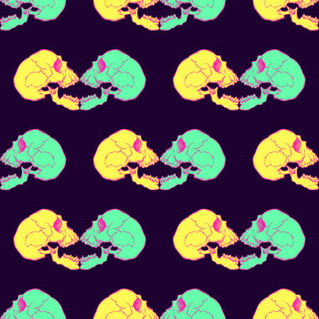cranial skeleton: Terrible frightening seamless pattern with skull in cartoon style Illustration