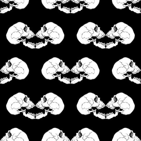 frightening: Terrible frightening seamless pattern with skull in cartoon style Illustration