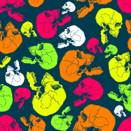 terrible: Terrible frightening seamless pattern with skull in cartoon style Illustration