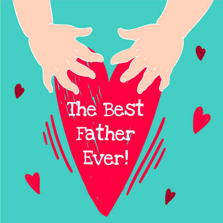 handprints: Drawn in cartoon style postcard with childrens handprints and a heart. Happy fathers day Illustration