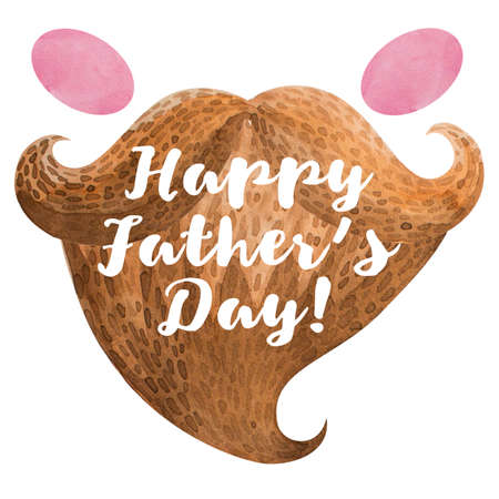 blush: Drawn in cartoon style postcard with beard, mustache, blush. Happy fathers day Stock Photo