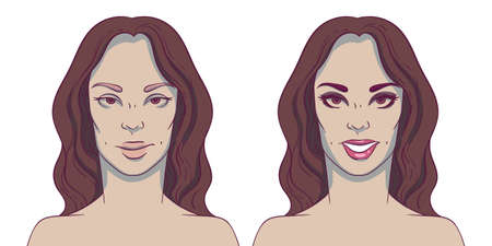 deficiencies: Portrait of a woman before and after with cosmetic defects. Plastic surgery and correction of deficiencies in appearance. Dentistry. Smile. Straight teeth.
