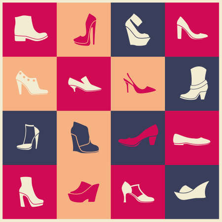 bondage: multicolor flat icons of different kinds of shoes