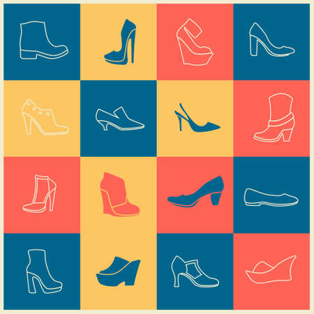ballerina shoes: multicolor flat icons of different kinds of shoes
