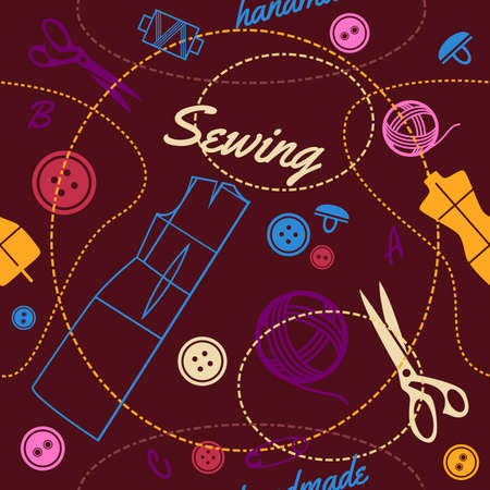 sewing supplies: seamless pattern with multicolor sewing supplies and tools