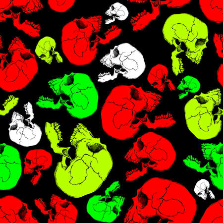 Terrible frightening seamless pattern with skull in cartoon style Illustration