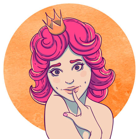flirty: Portrait of curly young beautiful girl. Princess with a crown on his head. Queen with pink hair. Flirty Illustration
