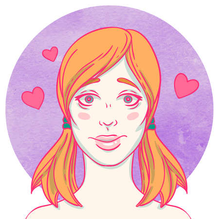 Portrait of young cutie girl on watercolor background. Female avatar. Emotion Illustration