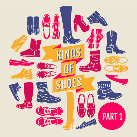 timberland: kinds of shoes. set of flat icons Illustration