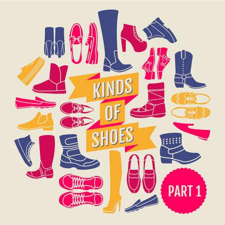 loafer: kinds of shoes. set of flat icons Illustration