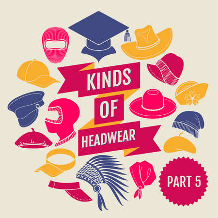 Kinds of headwear. Flat icons