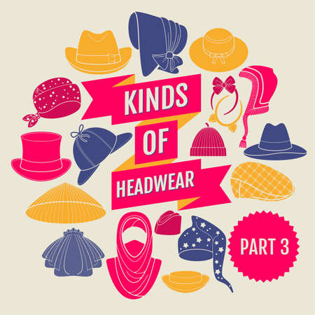 coolie hat: Kinds of head wear. Flat icons