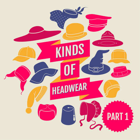 derby hats: Kinds of head wear. Flat icons